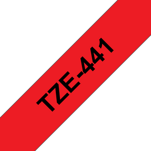 Brother TZE Labelling Tape, 18mm Width, Black on Red, 8m Long (TZE-441)