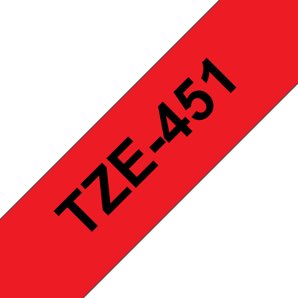 Brother TZE Labelling Tape, 24mm Width, Black on Red, 8m Long (TZE-451)