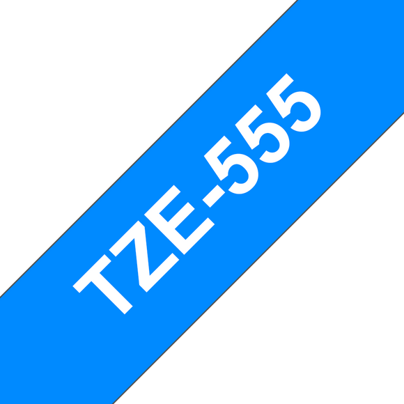 Brother TZE Labelling Tape, 24mm Width, White on Blue, 8m Long (TZE-555)