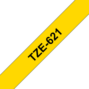 Brother TZE Labelling Tape, 9mm Width, Black on Yellow, 8m Long (TZE-621)
