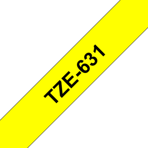 Brother TZ631 Black on Yellow 12mm x 8m Label Tape