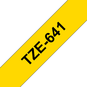 Brother TZ641 Black on Yellow 18mm x 8m Label Tape