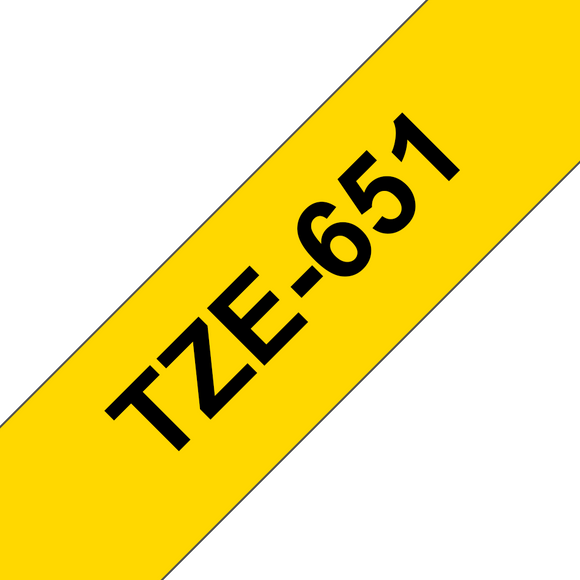 Brother TZE Labelling Tape, 24mm Width, Black on Yellow, 8m Long (TZE-651)