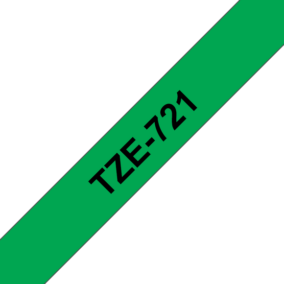 Brother TZE Labelling Tape, 9mm Width, Black on Green, 8m Long (TZE-721)