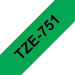 Brother TZE Labelling Tape, 24mm Width, Black on Green, 8m Long (TZE-751)