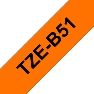 Brother TZE Labelling Tape, 24mm Width, Black on Fluorescent Orange, 5m Long (TZE-B51)