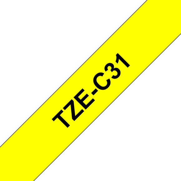 Brother TZE Labelling Tape, 12mm Width, Black on Fluorescent Yellow, 5m Long (TZE-C31)