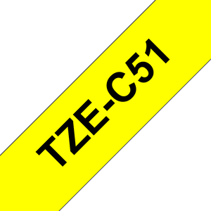 Brother TZE Labelling Tape, 24mm Width, Black on Fluorescent Yellow, 5m Long (TZE-C51)