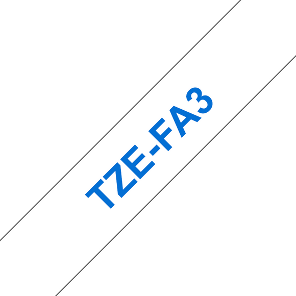 Brother TZE Fabric Labelling Tape, 12mm Width, Blue on White, 3m Long (TZE-FA3)