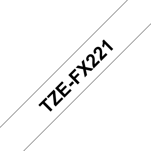 Brother TZE Flexible Label Tape, 9mm Width, Black on White, 8m Long (TZE-FX221)