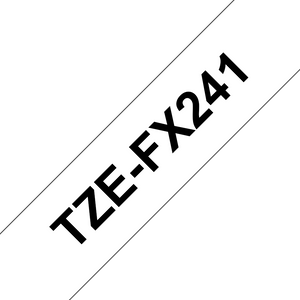 Brother TZE Flexible Label Tape, 18mm Width, Black on White, 8m Long (TZE-FX241)