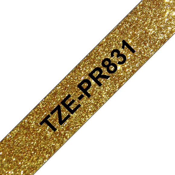 Brother TZE Labelling Tape, 12mm Width, Black on Premium Gold, 4m Long (TZE-PR831)