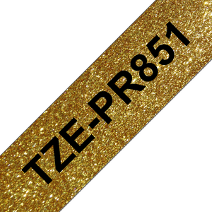 Brother TZE Labelling Tape, 24mm Width, Black on Premium Gold, 4m Long (TZE-PR851)