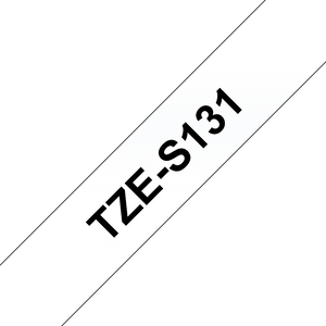 Brother TZE Strong Adhesive Labelling Tape, 12mm Width, Black on Clear, 8m Long (TZE-S131)