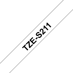 Brother TZE Strong Adhesive Labelling Tape, 6mm Width, Black on White, 8m Long (TZE-S211)