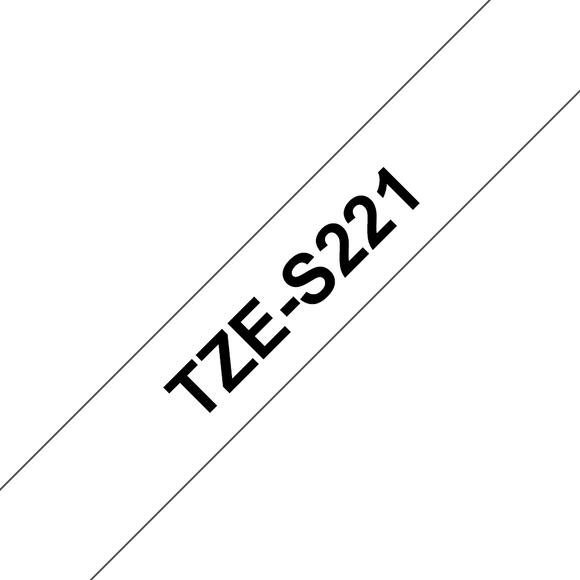 Brother TZE Strong Adhesive Labelling Tape, 9mm Width, Black on White, 8m Long (TZE-S221)