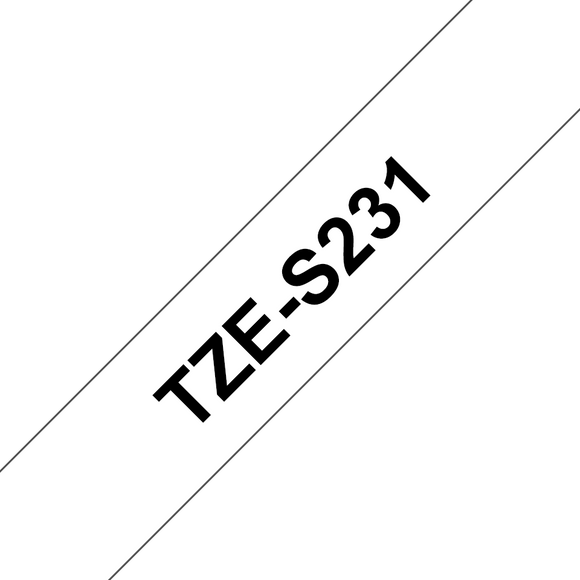Brother TZE Strong Adhesive Labelling Tape, 12mm Width, Black on White, 8m Long (TZE-S231)