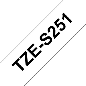 Brother TZE Strong Adhesive Labelling Tape, 24mm Width, Black on White, 8m Long (TZE-S251)