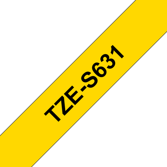 Brother TZE Strong Adhesive Labelling Tape, 12mm Width, Black on Yellow, 8m Long (TZE-S631)