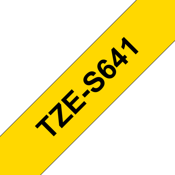 Brother TZE Strong Adhesive Labelling Tape, 18mm Width, Black on Yellow, 8m Long (TZE-S641)
