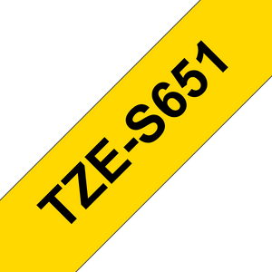 Brother TZE Strong Adhesive Labelling Tape, 24mm Width, Black on Yellow, 8m Long (TZE-S651)