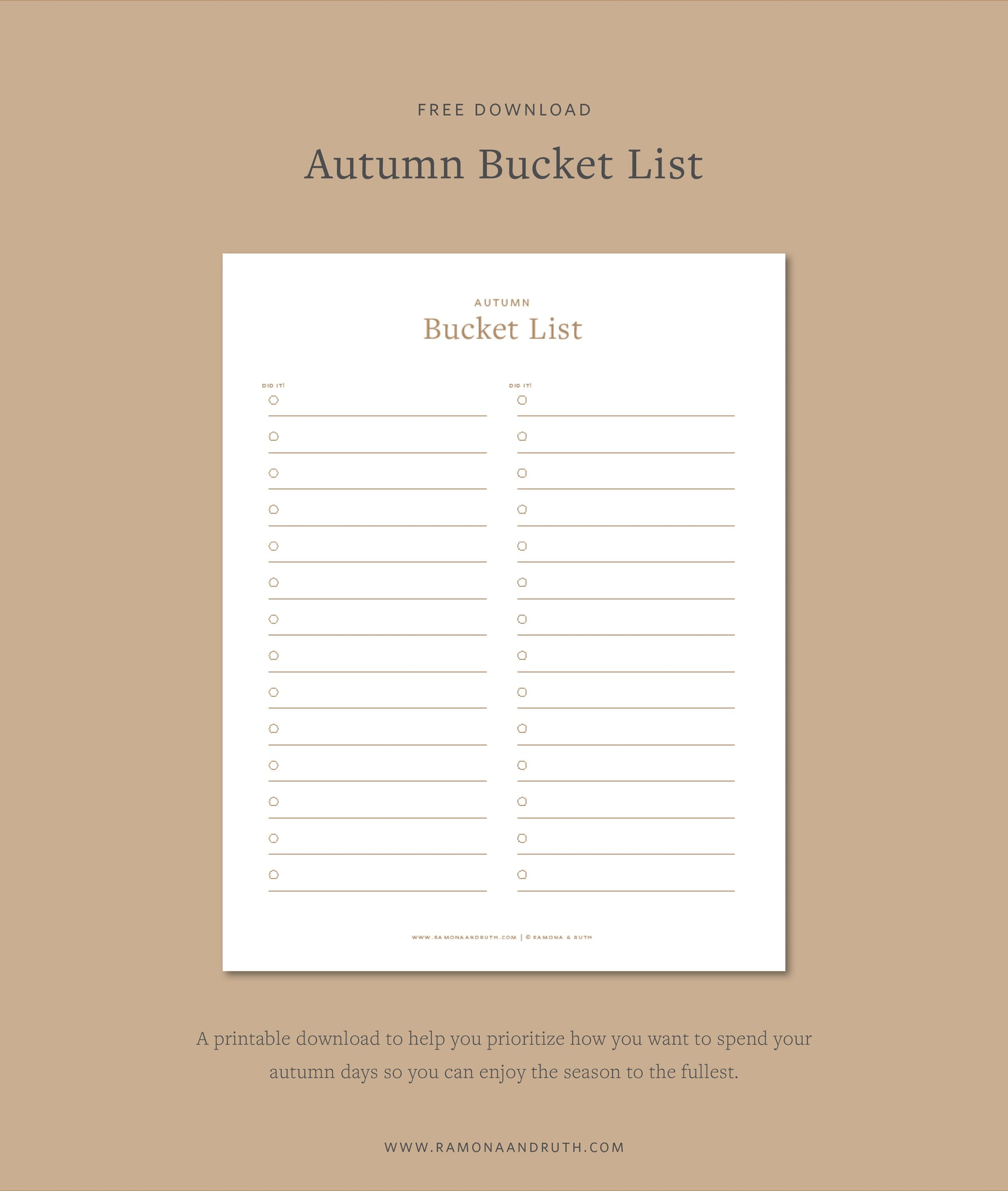 Autumn Bucket List Free Printable Download by Ramona & Ruth