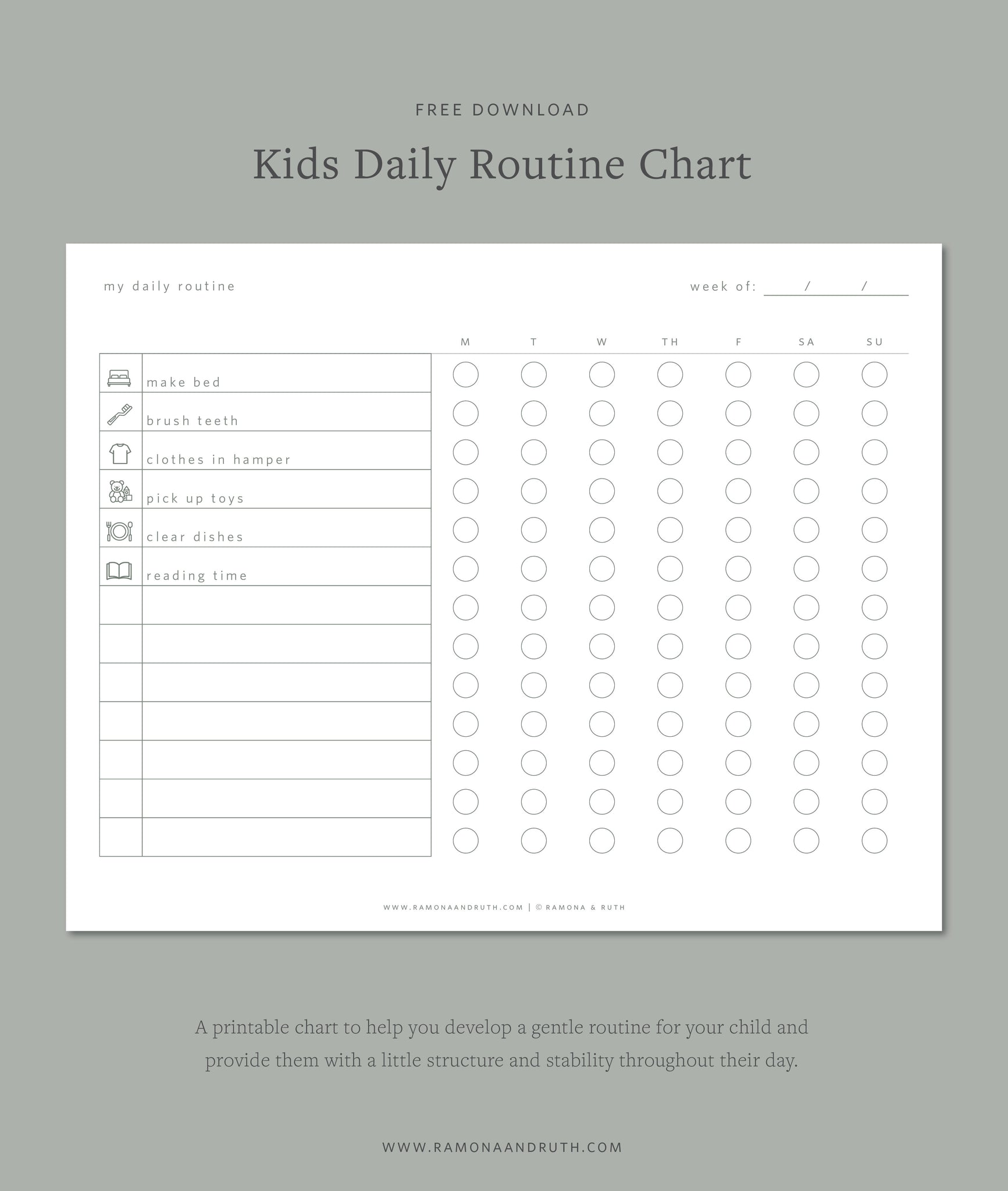 Kids Daily Routine Chart Free Printable by Ramona & Ruth