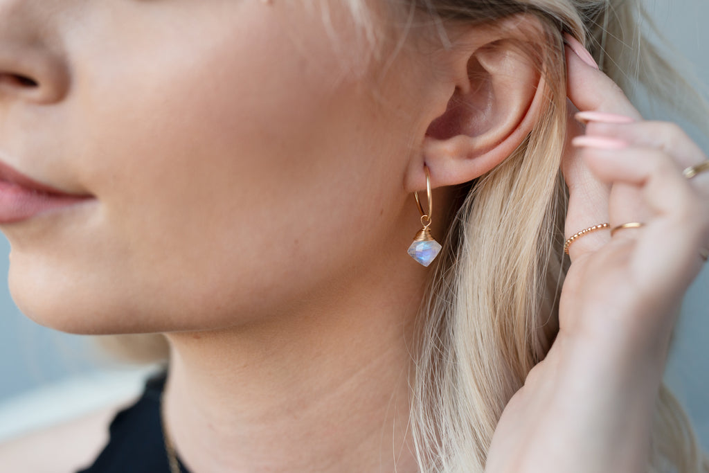 Moonstone Drop Endless Hoops