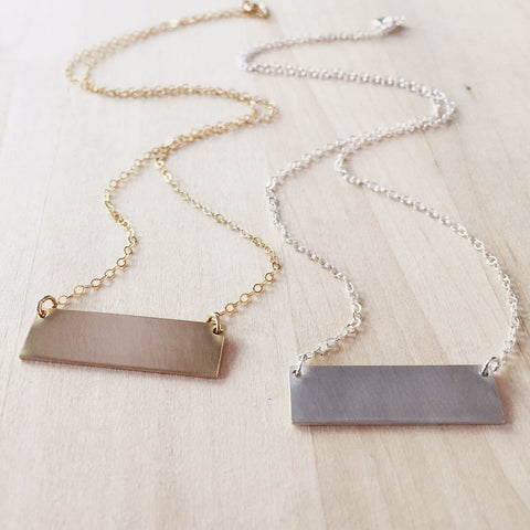 XL Brushed Bar Necklace