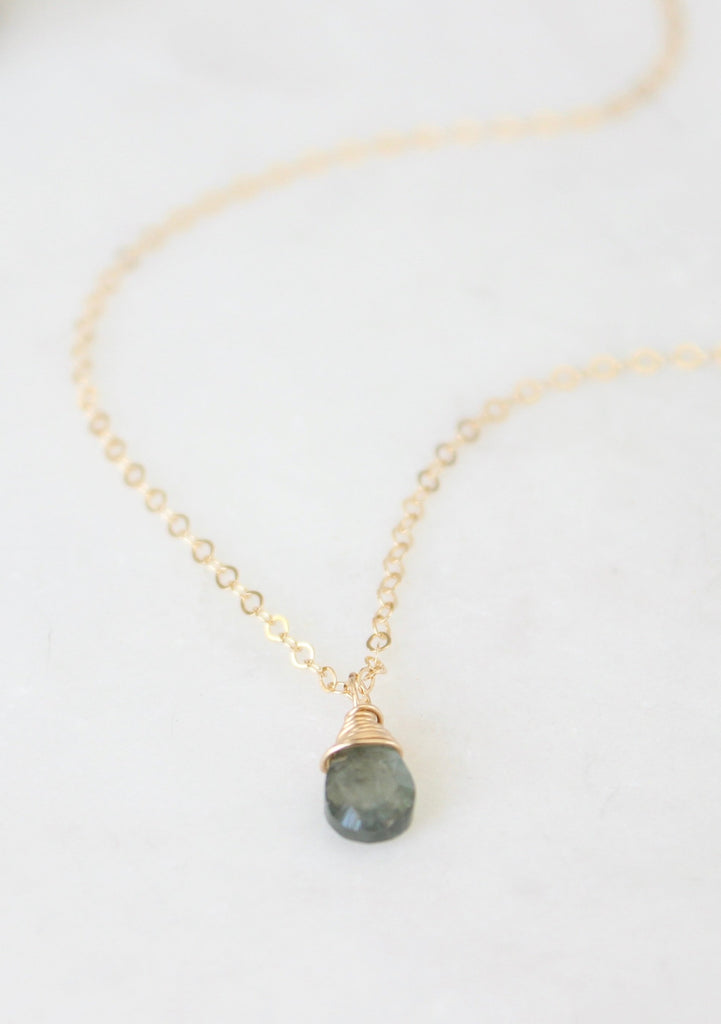 TINY Almond Briolette Necklace