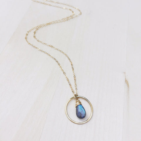Labradorite Halo Necklace