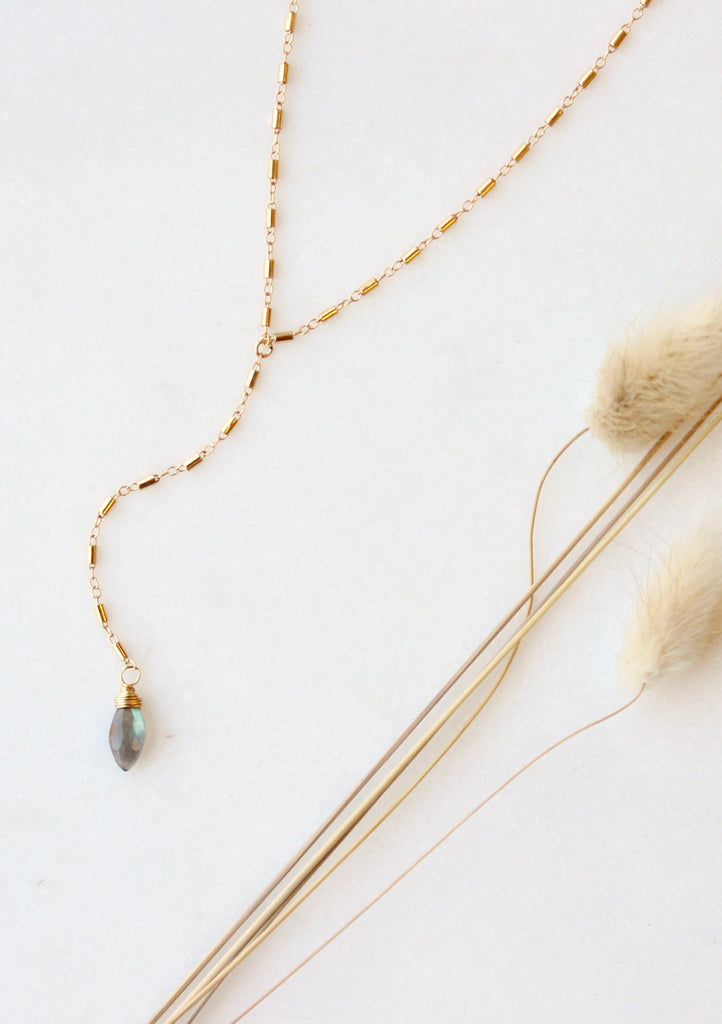 Labradorite + Barrel Y Necklace