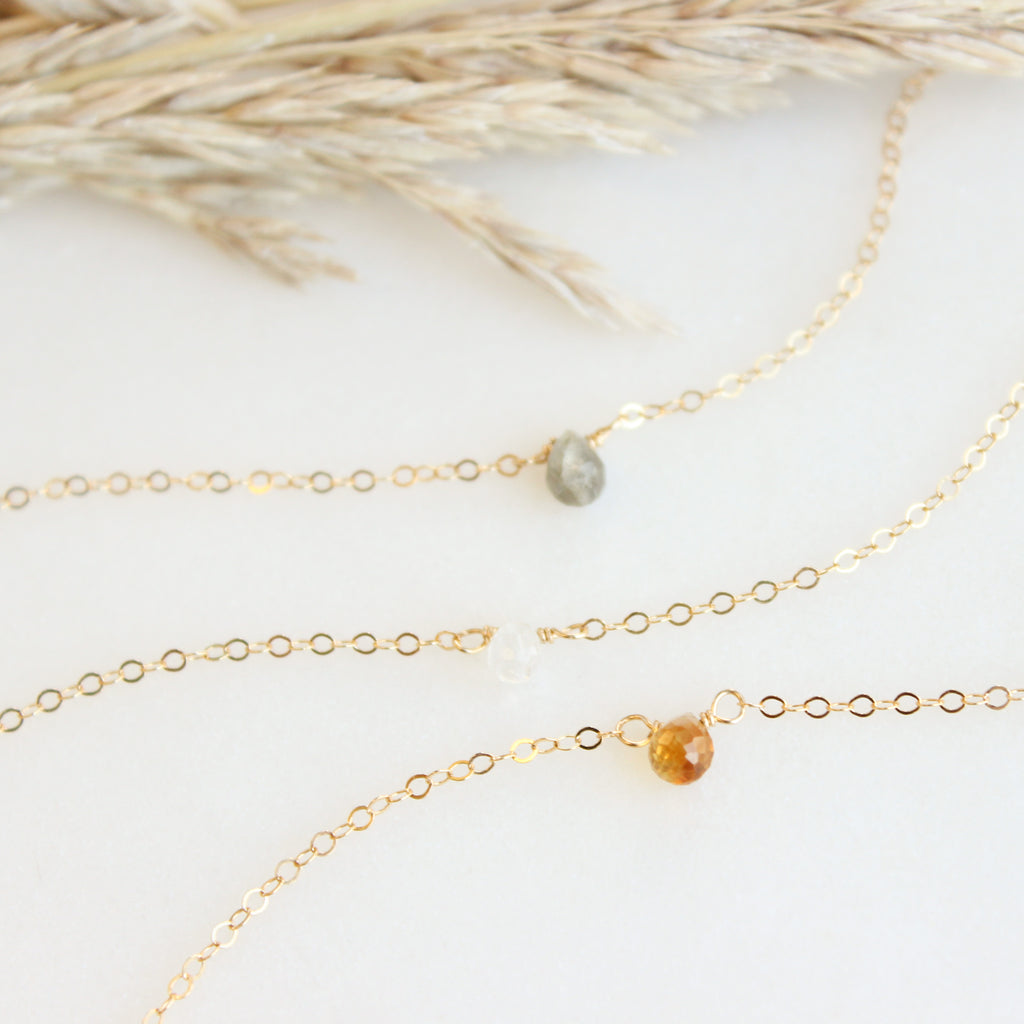 TINY Teardrop Gemstone Bracelet