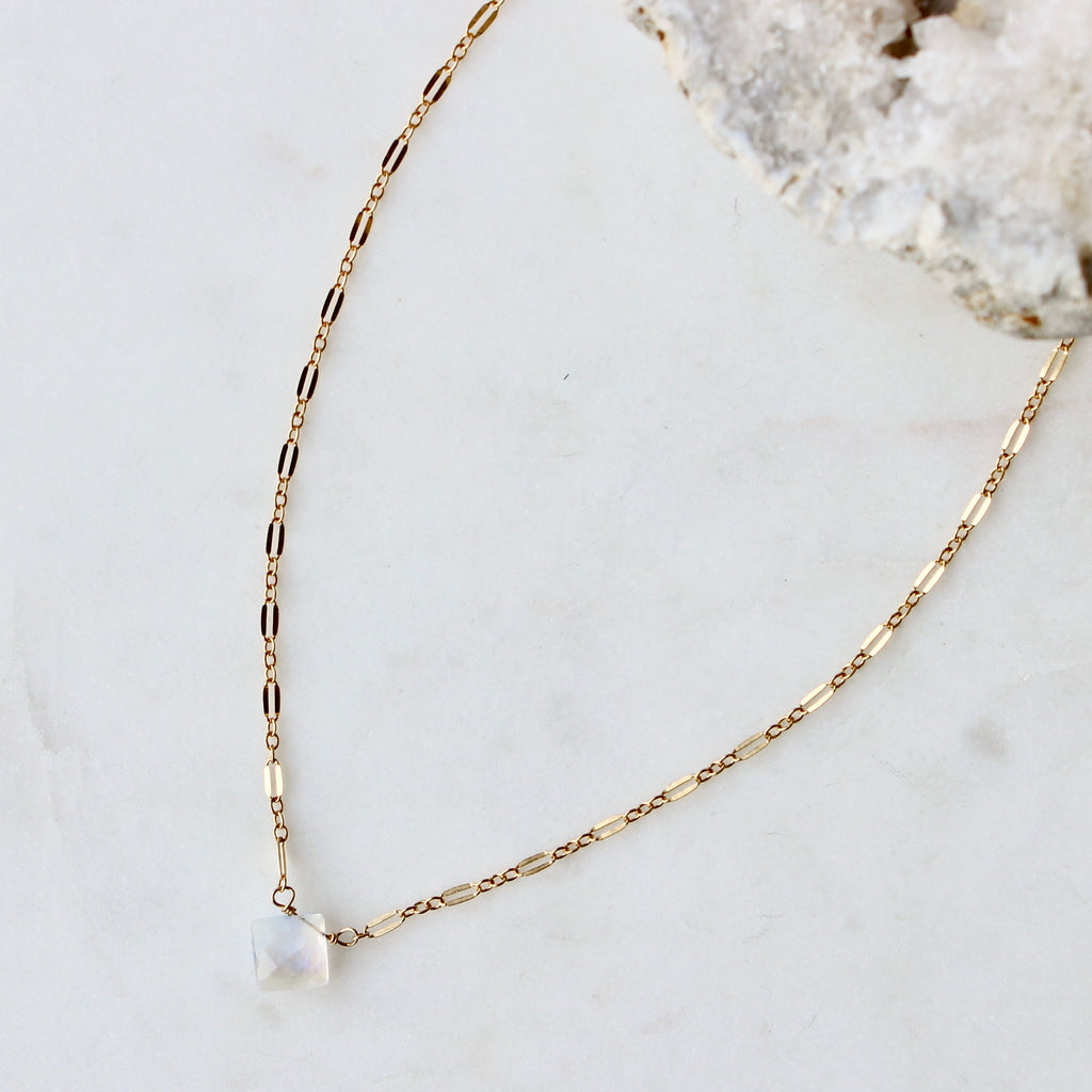 Moonstone + Lace Necklace