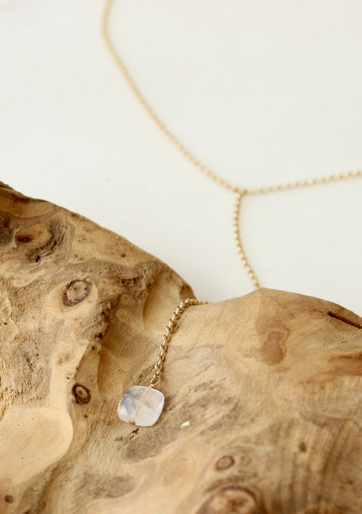 Moonstone + Tiny Rollo Y Necklace