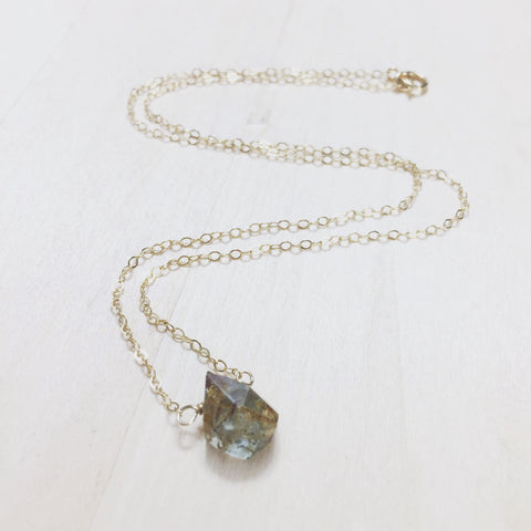 Moss Aquamarine Drop Necklace