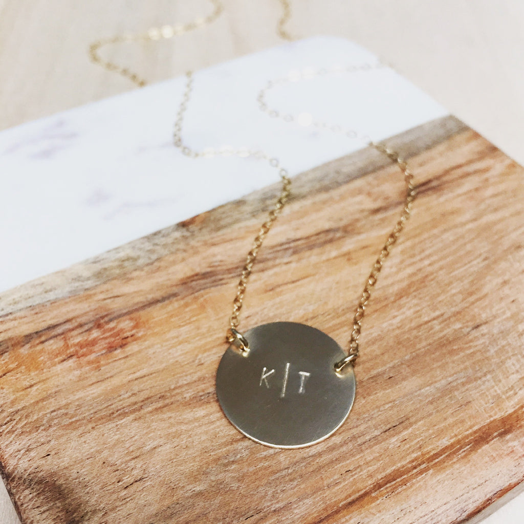 XL Brushed Disc Initial Necklace