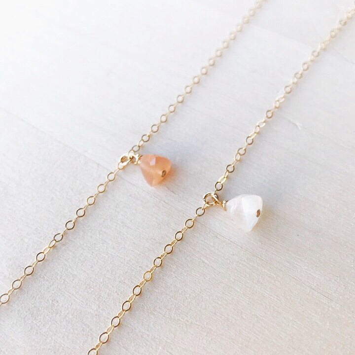 TINY Pyramid Gemstone Necklace