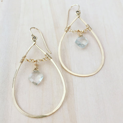 Green Amethyst Diamond Drop Hoops