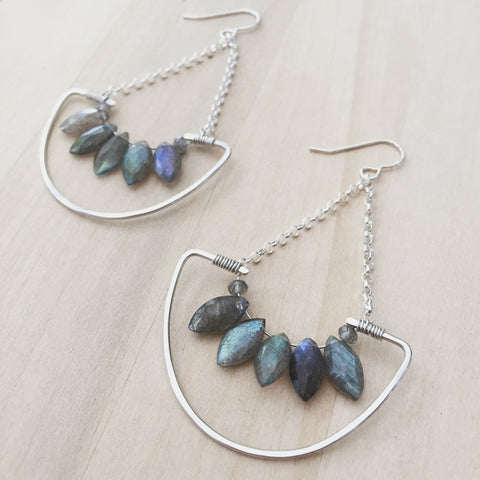 Labradorite Fan Earrings