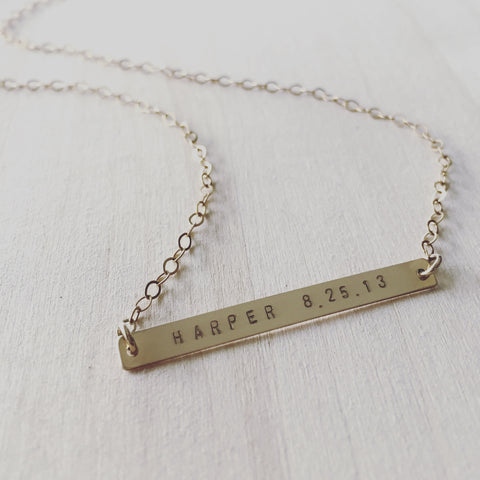 Name + Date Bar Necklace