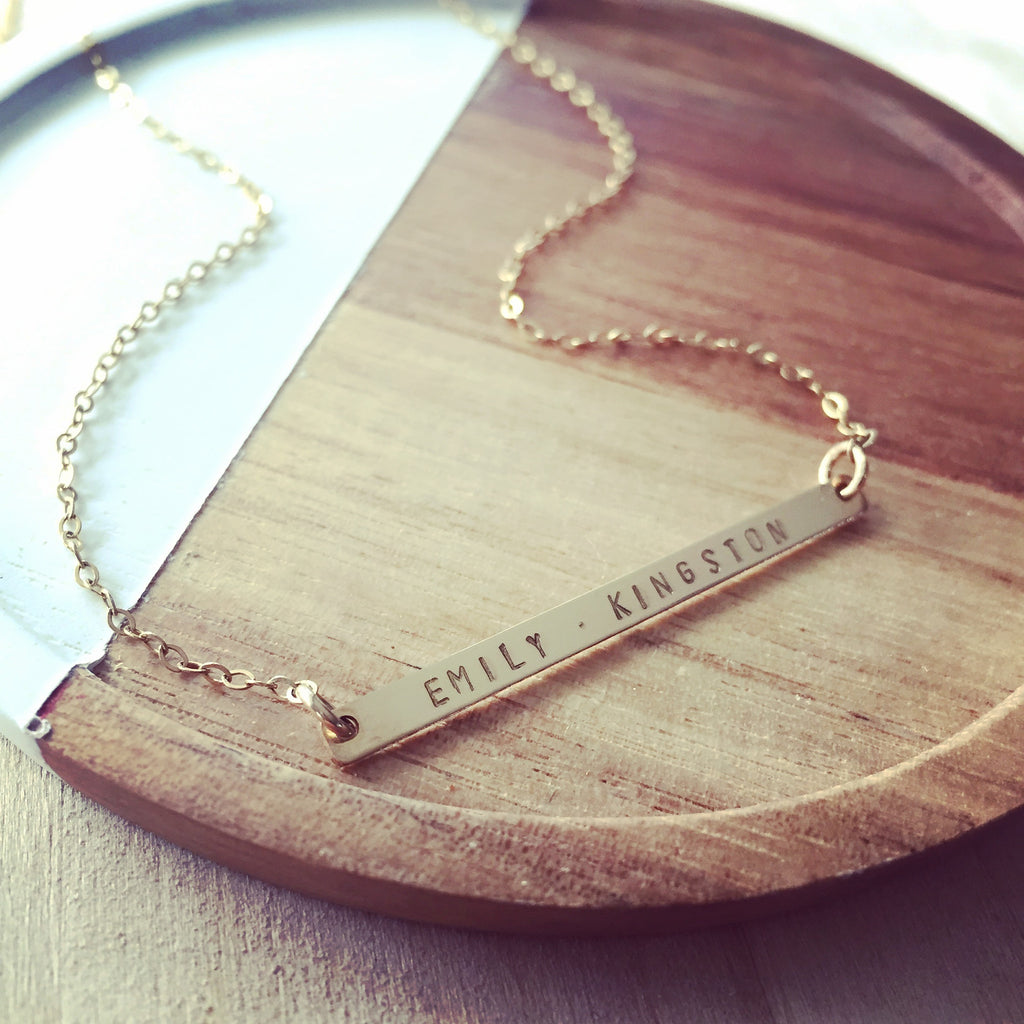 Skinny Bar Names Necklace
