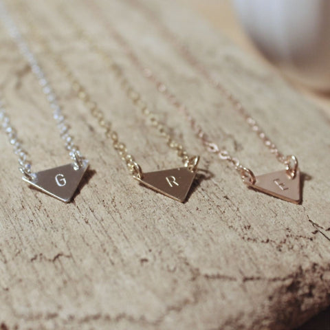 Petite Triangle Initial Necklace