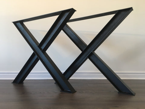 Black & Smith Ironworks - Steel I-Beam X-Frame Table Legs (Industrial, Modern, Rustic, Metal)