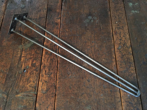 "Black & Smith Ironworks - Steel Reinforced 3 Rod Hairpin Legs 20""-28"" (Industrial, Modern, Rustic, Metal)"
