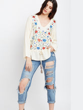 Load image into Gallery viewer, Beautiful ivory long sleeve floral embroidered blouse with drawstring waist great for work or casual wear