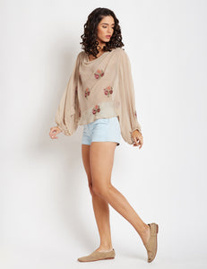 Embroidered long sleeve nude top