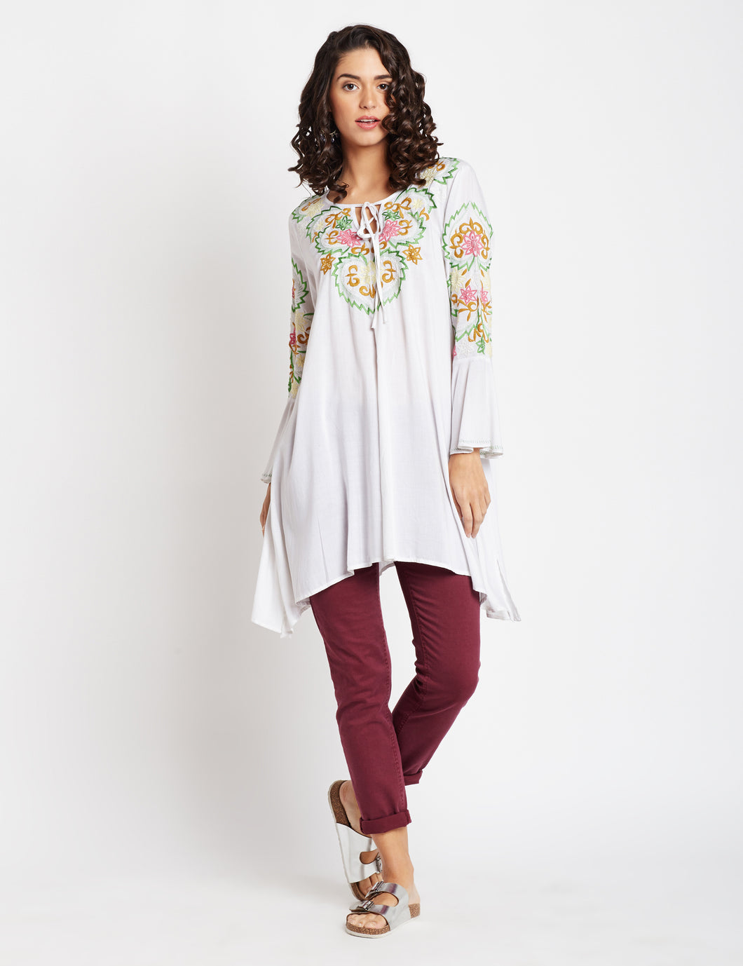 Easy Breezy Embroidered Tunic Dress MDAQ18W