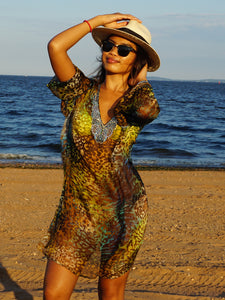 Silk beach coverup animal print multi color
