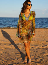 Load image into Gallery viewer, Silk beach coverup animal print multi color